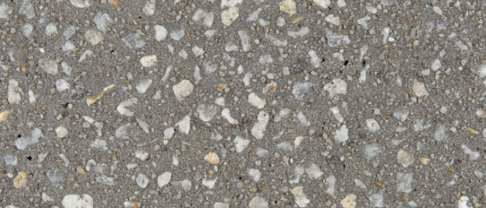Exposed aggregate concrete ash