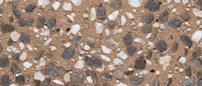 Exposed aggregate concrete copper tone