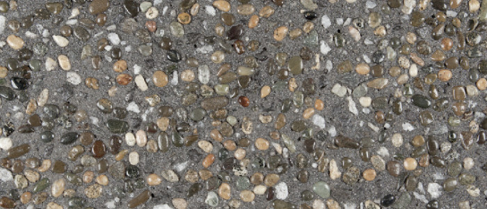 Exposed aggregate concrete Envy seeded with Outback
